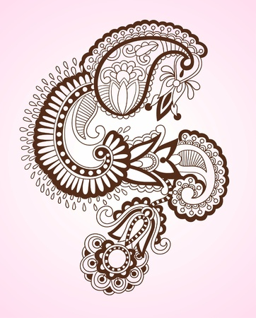 Stock Vector Illustration: Hand-Drawn Abstract Henna Mendie Flowers Doodle Vector Illustration Design Element  Illustration