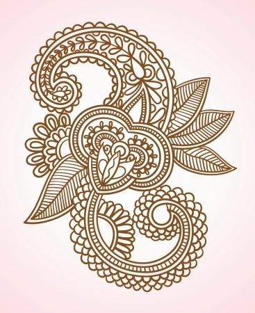 hindi: Illustrazione Vettoriale di Stock: Hand-Drawn astratta Henna Mendie Fiori Doodle illustrazione vettoriale Design Element