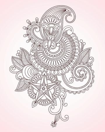 hindi: Illustrazioni vettoriali d'archivio: Hand-Drawn astratti Fiori Mendie Henna Doodle illustrazione vettoriale Design Element Vettoriali