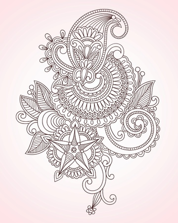 Stock Vector Illustration: Hand-Drawn Abstract Henna Mendie Flowers Doodle Vector Illustration Design Element  Stock Vector - 11188936