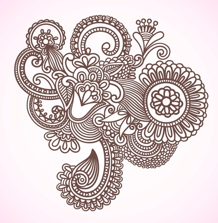 mendie: Stock Vector Illustration: Hand-Drawn Abstract Henna Mendie Flowers Doodle Vector Illustration Design Element  Illustration