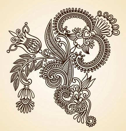 hindi: Stock Vector Illustration: Hand-Drawn Abstract Henna Mendie Flowers Doodle Vector Illustration Design Element  Illustration