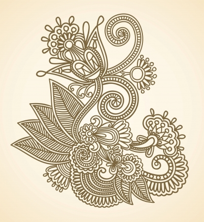 henna pattern: Stock Vector Illustration: Hand-Drawn Abstract Henna Mendie Flowers Doodle Vector Illustration Design Element  Illustration