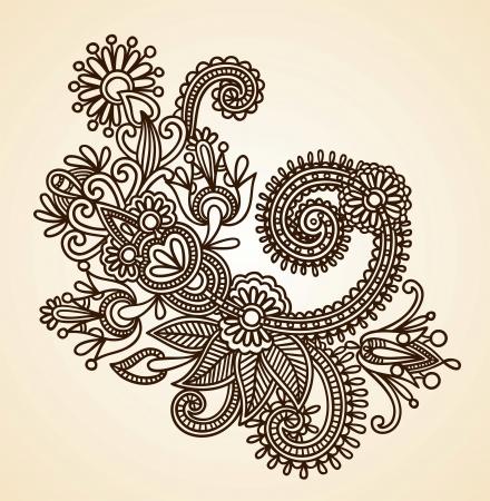 henna design: Foto Ilustraciones Vectores: dibujados a mano Mendie Resumen Flores Henna Doodle Ilustraci�n Vectorial Dise�o de Elementos Vectores