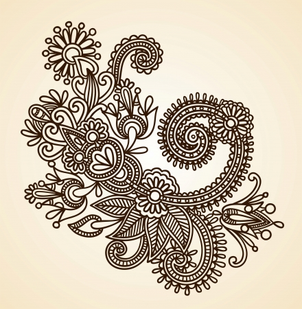 henna design: Stock Vector Illustration: Hand-Drawn Abstract Henna Mendie Flowers Doodle Vector Illustration Design Element  Illustration