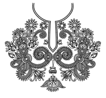 kashmir: Neckline embroidery fashion