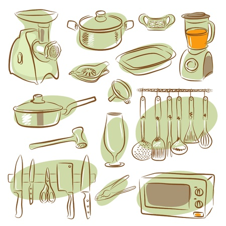cute kitchen elements collection  Vector