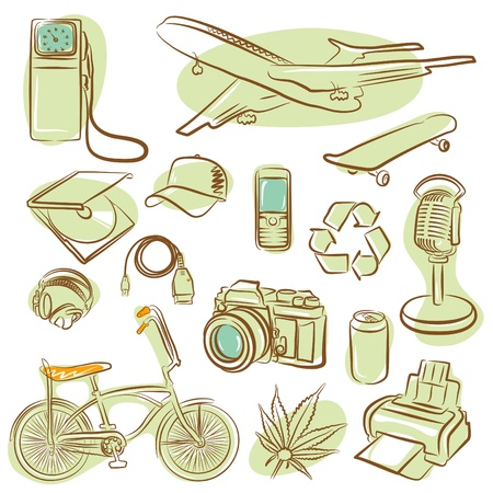 printer drawing: icons for design (vector)  Illustration