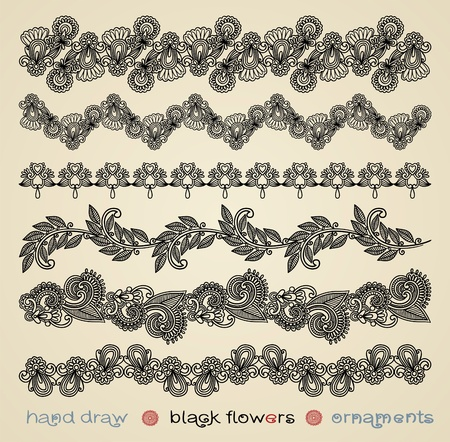 hand draw black flowers ornaments  Vector
