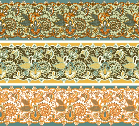 strap: three colored ornamental seamless pattern stripes