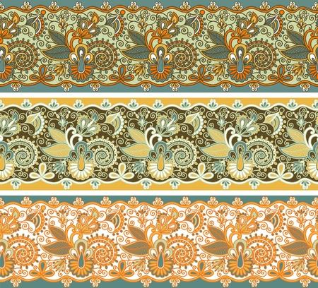 iteration: tre strisce colorate ornamentali modello seamless