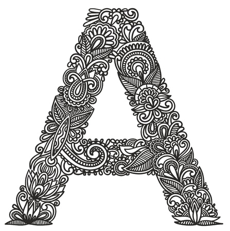 Hand drawing ornamental alphabet