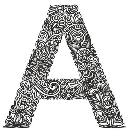 Hand tekening sier alfabet