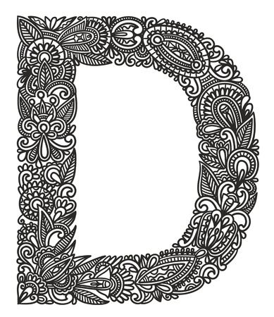lettrage: Main dessin alphabet ornementale
