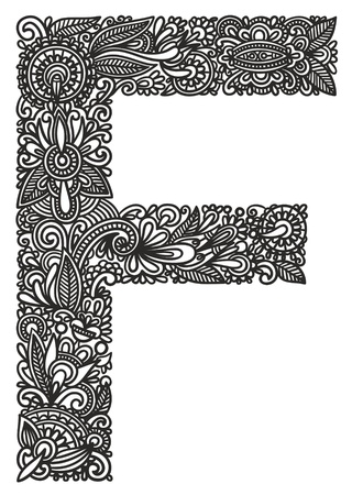 Hand drawing ornamental alphabet Vector