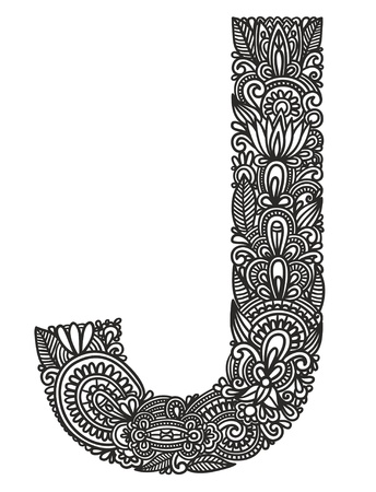 line drawing: Hand drawing ornamental alphabet