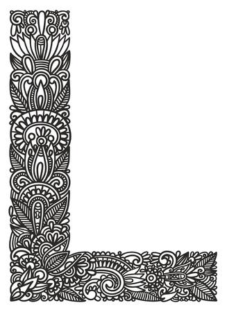 chapiteaux: Main dessin alphabet ornementale