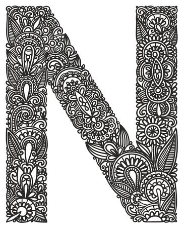 capitel: Mano alfabeto dibujo ornamental