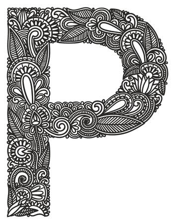 pila bautismal: Mano alfabeto dibujo ornamental