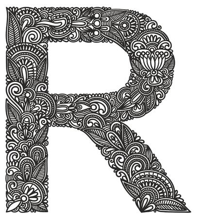 Hand drawing ornamental alphabet Vector