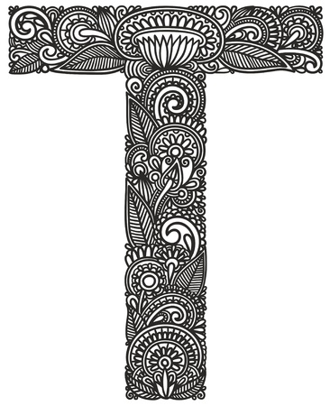 letras cromadas: Mano alfabeto dibujo ornamental
