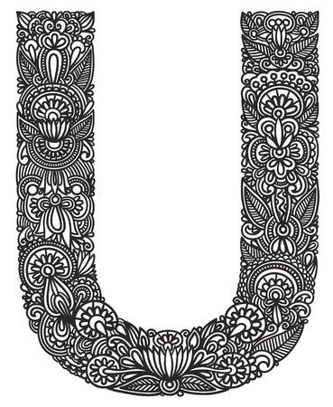 type lettering: Hand drawing ornamental alphabet