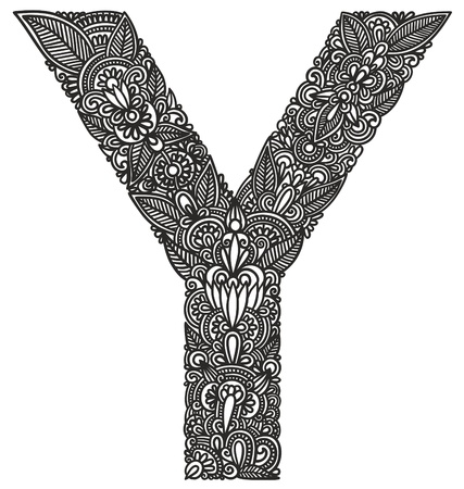 letras cromadas: Mano sorteo alfab�tico ornamentales Vectores