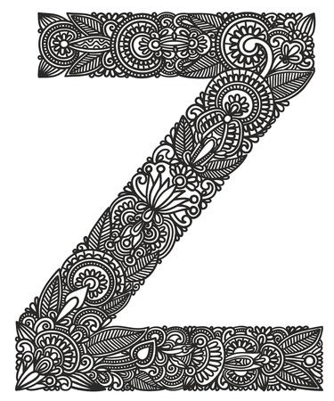 graffiti alphabet: Hand drawing ornamental alphabet