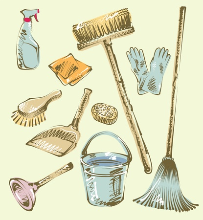 mop: Cleaning service sketch design elements Illustration