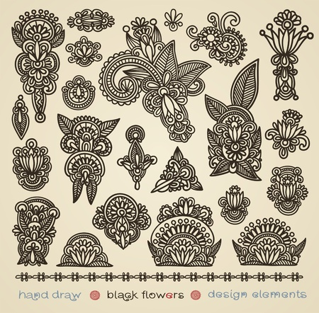 botanics: hand draw black flowers design elements