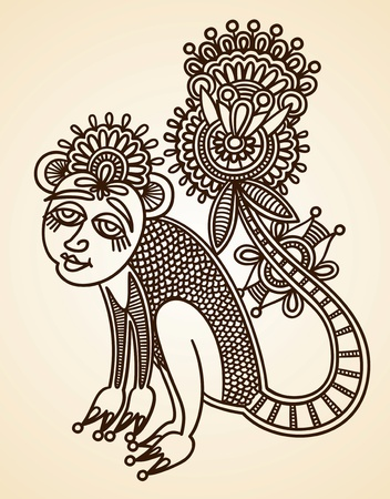 Hand-Drawn Abstract Henna Mendie Animals Doodle Vector Illustration Design Element  Vector