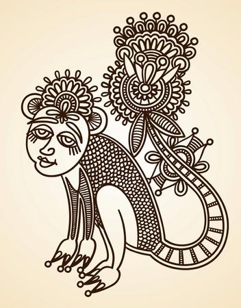 hindi: Hand-Drawn astratta Henna Mendie Animali Doodle illustrazione vettoriale Design Element Vettoriali