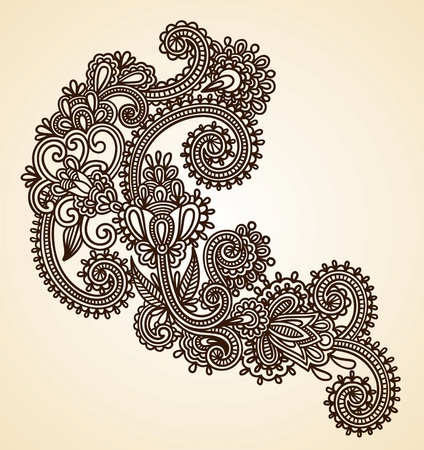 Hand-Drawn Abstract Henna Mendie Flowers Doodle Vector Illustration Design Element Stock Vector - 11189150