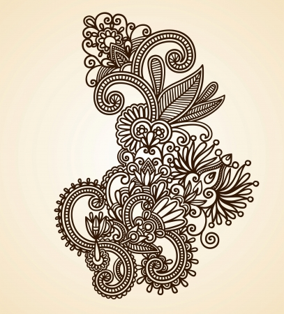 Hand-Drawn Abstract Henna Mendie Flowers Doodle Vector Illustration Design Element Stock Vector - 11189139