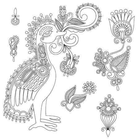 hindi: Fiori neri ed elementi di design degli uccelli. Line art Vettoriali