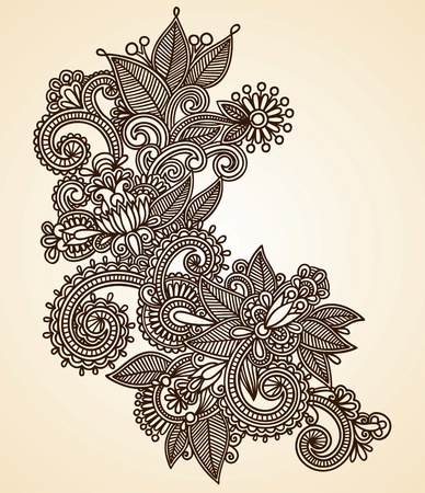 hindi: Hand-Drawn Abstract Henna Mendie Flowers Doodle Vector Illustration Design Element