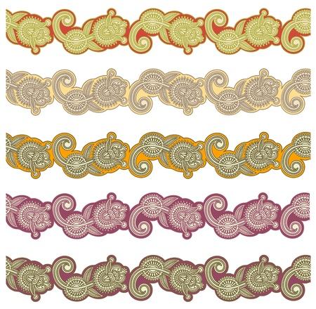 trendy tissue: five colored ornamental seamless pattern stripes Illustration