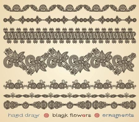lineas decorativas: Por elaborar adornos de flores negras