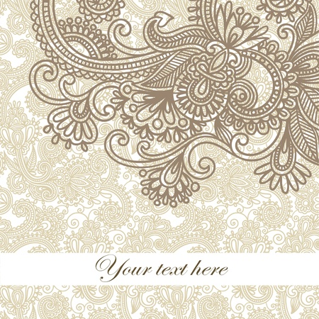 floral scroll: frame ornate card announcement  Illustration