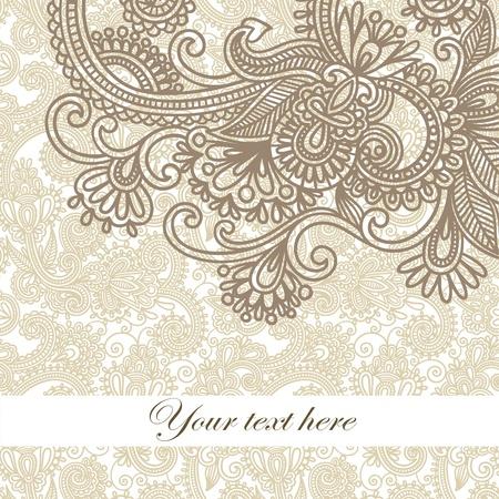 floral frame: frame ornate card announcement  Illustration