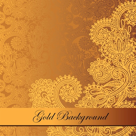 gold textures: Gold floral background with place for your text