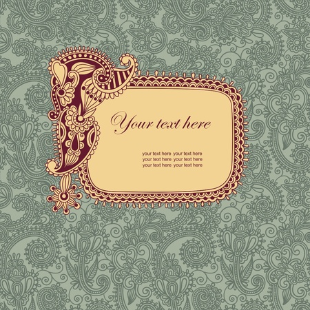 vintage frame in floral background  Vector
