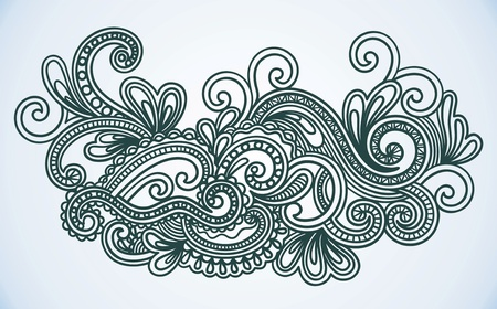 Hand-Drawn Abstract Henna Mendie Wives Doodle Vector Illustration Design Element  Vector
