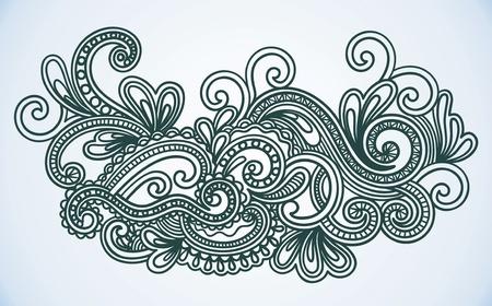 hindi: Hand-Drawn astratti Henna Wives Mendie Doodle illustrazione degli elementi disegno vettoriale