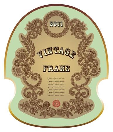 floral decoration: vintage label
