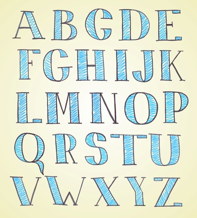 graffiti alphabet: doodle Handskizzeneffekt Alphabet Illustration