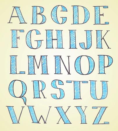 abecedario graffiti: mano doodle dibujado alfabeto boceto
