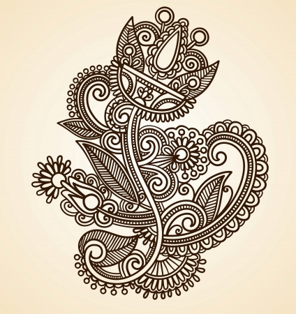 Hand-Drawn Abstract Henna Mendie Flowers Doodle Vector Illustration Design Element  Vector