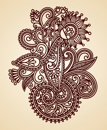 bandanna: Hand-Drawn Abstract Henna Mendie Flowers Doodle Vector Illustration Design Element