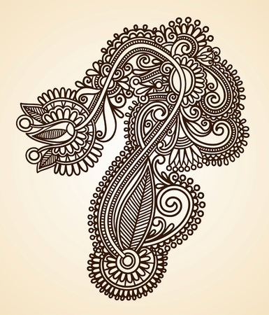 Hand-Drawn Abstract Henna Mendie Flowers Doodle Vector Illustration Design Element
